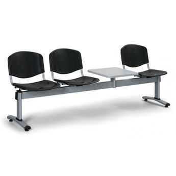 Ławka do poczekalni plastikowa LIVORNO - 3 siedziska + stołek, czarny