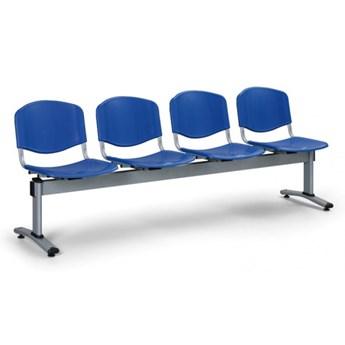 Ławka do poczekalni plastikowa LIVORNO - 4 siedziska, niebieski