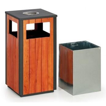 Kosz na śmieci z popielniczką na zewnątrz