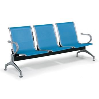 Ławka do poczekalni STRONG, 3-miejscowa, niebieska