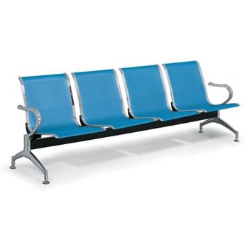 Ławka do poczekalni STRONG, 4-miejscowa, niebieska