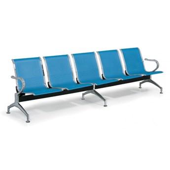 Ławka do poczekalni STRONG, 5-miejscowa, niebieska