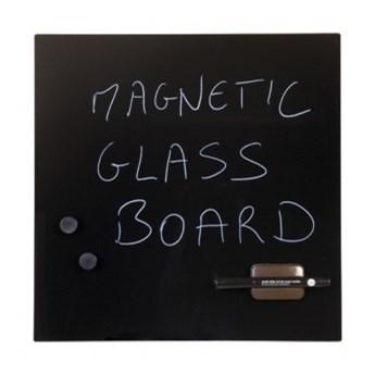 Szklana tablica do pisania, 48x48 cm, czarna