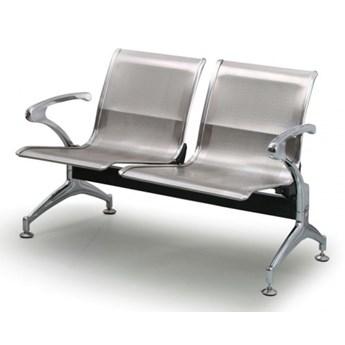 Ławka do poczekalni STRONG, 2-miejscowa, srebrna