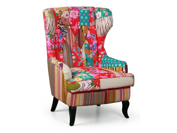 Fotel Patchwork typu uszak Pomieszczenie Salon Drewno Wysokość 101 cm Tkanina Fotel uszak Styl Nowoczesny