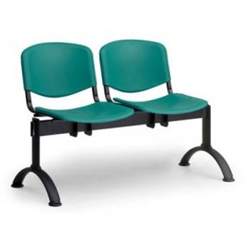 Ławka do poczekalni plastikowa ISO, 2-siedziska, zielony, czarne nogi