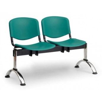 Ławka do poczekalni plastikowa ISO, 2-siedziska, zielony, chromowane nogi