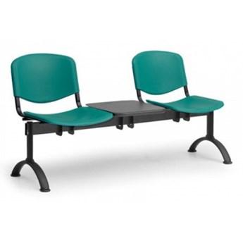 Ławka do poczekalni plastikowa ISO, 2-siedziska + stolik, zielony, czarne nogi