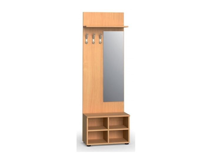 Garderoba z półką na buty i lustrem PRIMO, 3 haczyki, półka, buk Kolor Beżowy