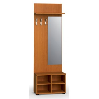 Garderoba z półką na buty i lustrem PRIMO, 3 haczyki, półka, czereśnia