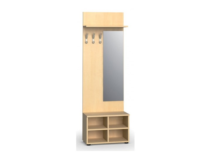 Garderoba z półką na buty i lustrem, 3 haczyki, półka, brzoza