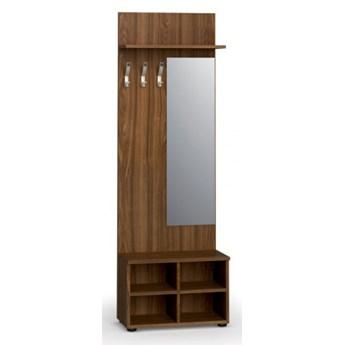 Garderoba z półką na buty i lustrem PRIMO, 3 haczyki, półka, orzech