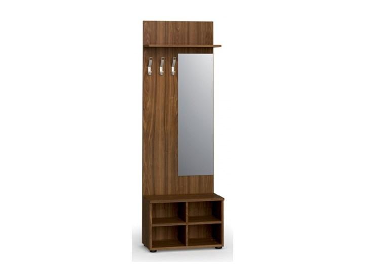 Garderoba z półką na buty i lustrem, 3 haczyki, półka, orzech