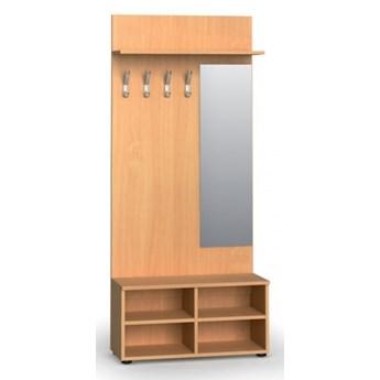 Garderoba z półką na buty i lustrem PRIMO, 4 haczyki, półka, buk