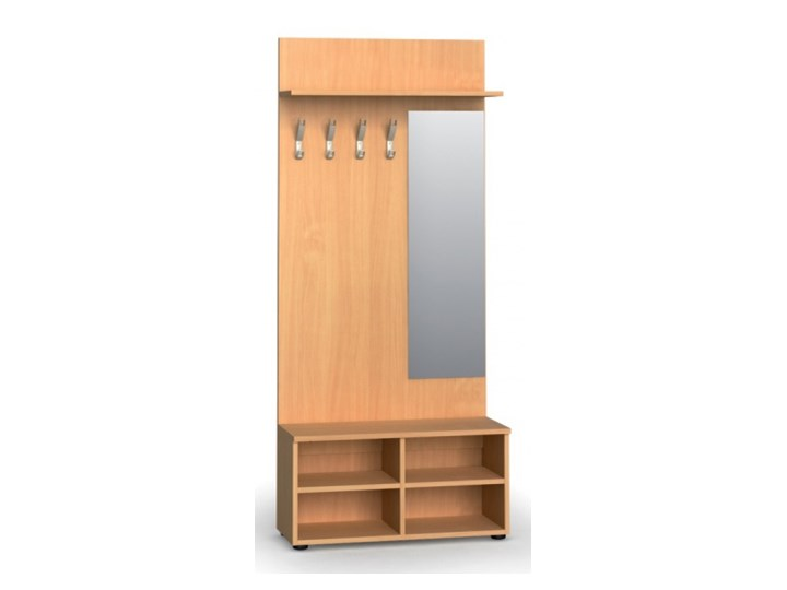 Garderoba z półką na buty i lustrem PRIMO, 4 haczyki, półka, buk Kategoria Zestawy mebli do sypialni Kolor Brązowy