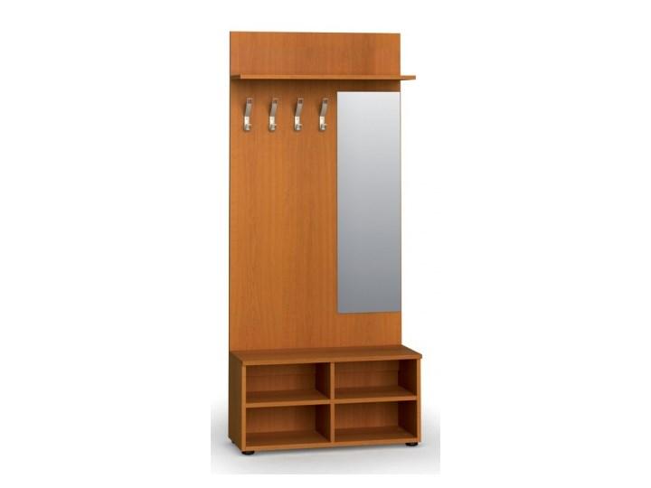 Garderoba z półką na buty i lustrem PRIMO, 4 haczyki, półka, czereśnia