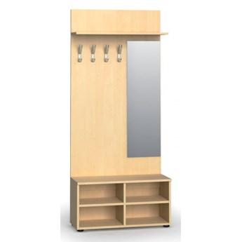 Garderoba z półką na buty i lustrem PRIMO, 4 haczyki, półka, brzoza