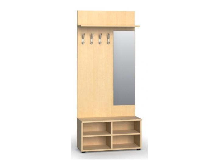 Garderoba z półką na buty i lustrem PRIMO, 4 haczyki, półka, brzoza Kategoria Zestawy mebli do sypialni Kolor Beżowy