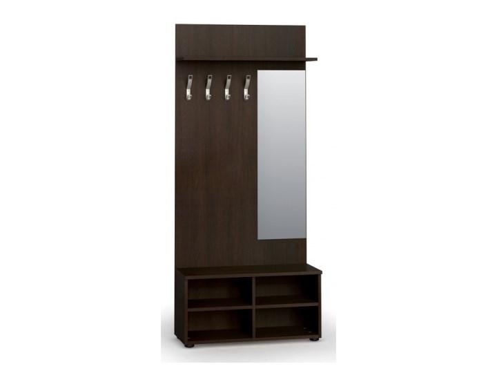 Garderoba z półką na buty i lustrem PRIMO, 4 haczyki, półka, wenge