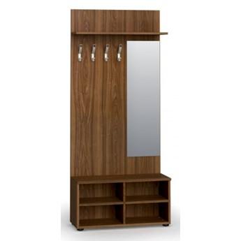 Garderoba z półką na buty i lustrem PRIMO, 4 haczyki, półka, orzech