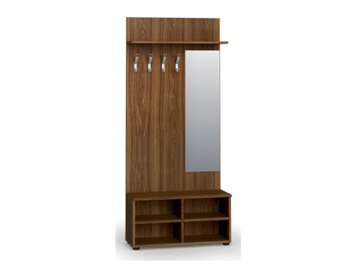 Garderoba z półką na buty i lustrem, 4 haczyki, półka, orzech