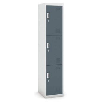 Szafka 3-drzwiowa, zamek cylindryczny, 1800 x 380 x 450 mm, szary/ciemnoszary