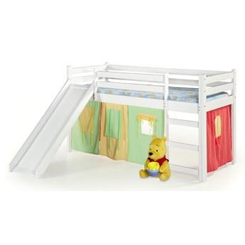 Drewniane łóżko na antresoli z drabinką i zjeżdżalnią Neo Plus biały