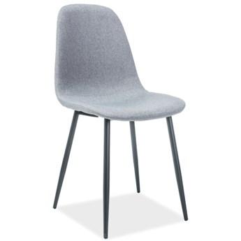 Tapicerowane krzesło jadalniane na czarnych nogach Fox
