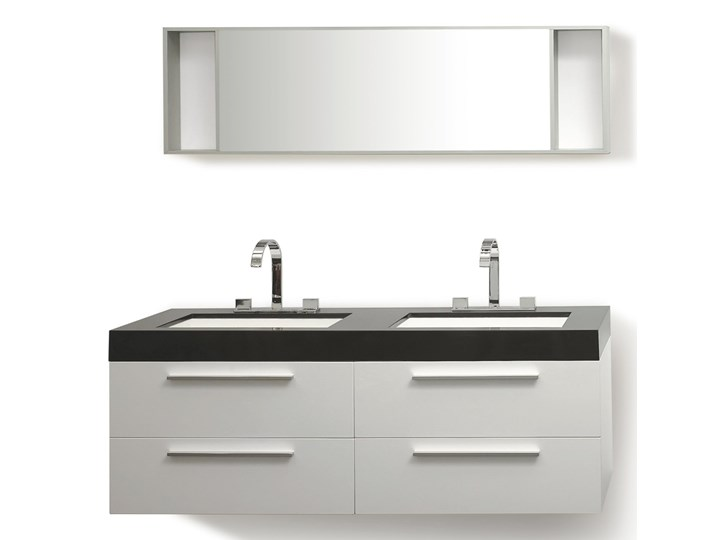 Zestaw mebli łazienkowych biały nowoczesna szafka wisząca z 2 umywalkami i lustrem Kategoria Zestawy mebli łazienkowych Kolor Czarny
