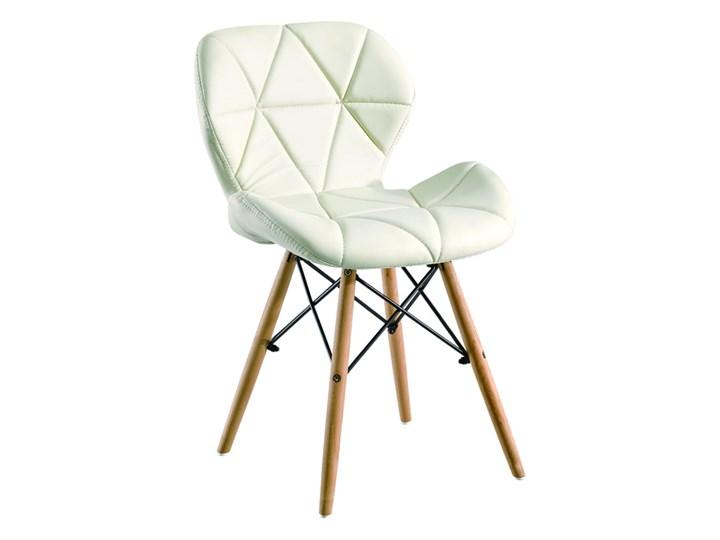 Krzesło Eliot Dsw Paris bukowe nogi białe Tworzywo sztuczne Drewno Metal Krzesło inspirowane Pomieszczenie Jadalnia Skóra ekologiczna Pomieszczenie Salon
