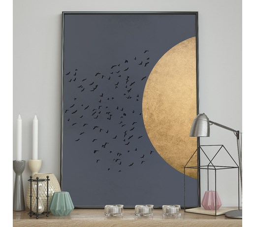DecoKing - Plakat ścienny - Birds Silhouette - Night