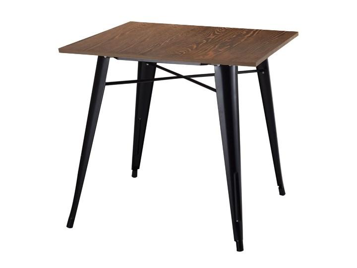 Stół TOWER WOOD czarny - blat sosna antyczna/metal