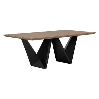 Stół do jadalni ciemne drewno czarne geometryczne nogi 200 x 100 cm nowoczesny