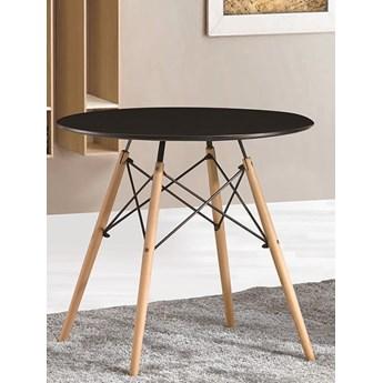 Stół okrągły Paris Milano 60x74 czarny, bukowe nogi