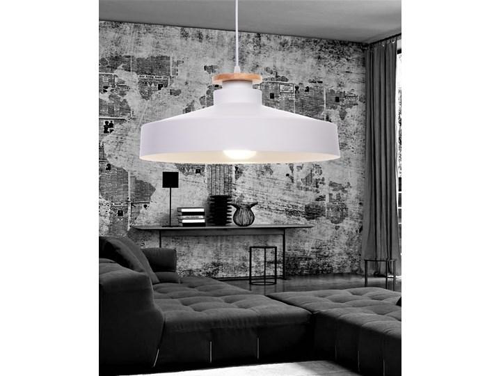 NOWOCZESNA LAMPA WISZĄCA BIAŁA LUDOR Drewno Metal Lampa inspirowana Lampa z abażurem Lampa z kloszem Styl Nowoczesny