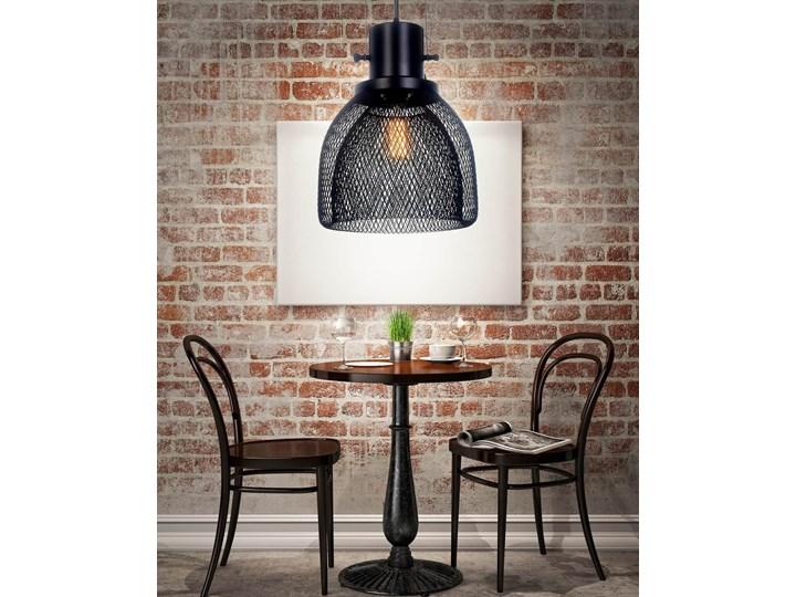 LAMPA WISZĄCA CZARNA FRATTON Lampa z abażurem Kolor Czarny Metal Lampa z kloszem Lampa druciana Styl Nowoczesny