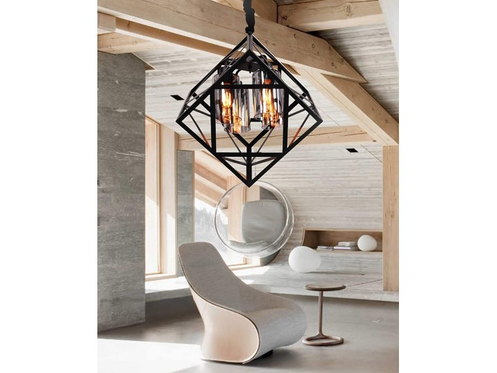 NOWOCZESNA LAMPA WISZĄCA LOFT BRUTTE Metal Szkło Stal Lampa druciana Kategoria Lampy wiszące