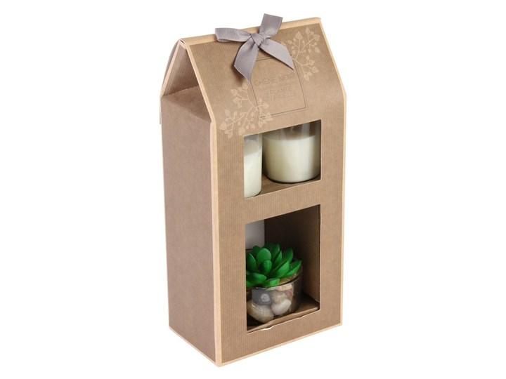 Zestaw prezentowy dwie świeczki dekoracyjne w szkle + roślina sztuczna ozdobna