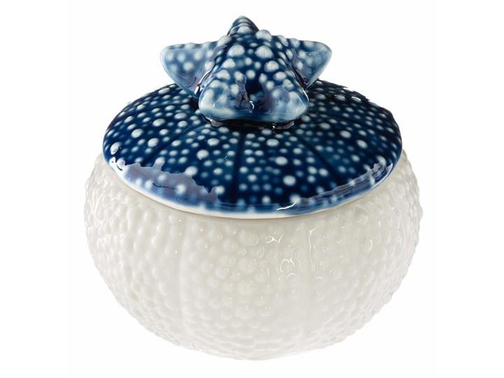 Świeca dekoracyjna biała z motywem granatowej muszli morskiej z rozgwiazdą, 58g