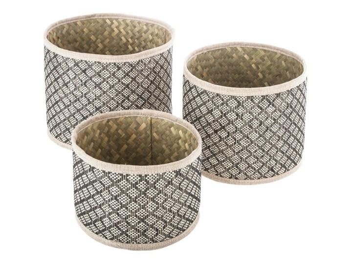 Zestaw trzech okrągłych koszy dekoracyjnych  z wikliny