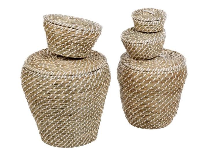 Kosze dekoracyjne z trawy morskiej, okrągłe, 5 sztuk w komplecie, kolor biały