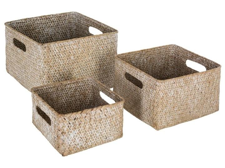 Komplet kwadratowych koszy dekoracyjnych z trawy morskiej, 3 rozmiary