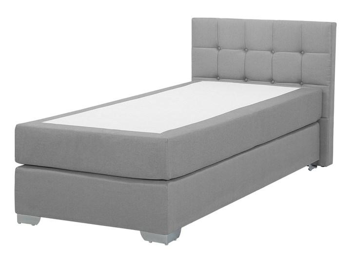 Łóżko kontynentalne jasnoszare tapicerowane 90 x 200 cm jednoosobowe z materacem i pikowanym zagłówkiem Kategoria Łóżka do sypialni Łóżko tapicerowane Kolor Szary