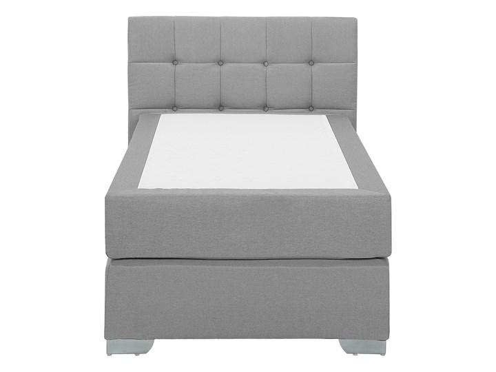 Łóżko kontynentalne jasnoszare tapicerowane 90 x 200 cm jednoosobowe z materacem i pikowanym zagłówkiem Łóżko tapicerowane Kategoria Łóżka do sypialni