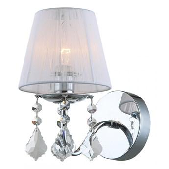 CORNELIA kinkiet 1 x 40W E14 ścienny glamour abażurowy kryształy biały ITALUX MBM-2572/1 W