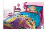 Bawełniana narzuta dziecięca na łóżko Księżniczka 160x200 niebieska