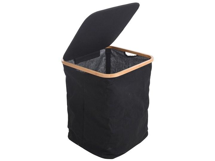 Kosz na pranie z pokrywą, czarna torba na brudne ubrania,83 l