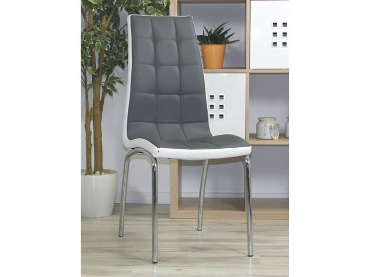 Eleganckie krzesło Corso B szaro-białe Stal Skóra Metal Skóra ekologiczna Wysokość 101 cm Głębokość 54 cm Kolor Szary Szerokość 42 cm Pomieszczenie Jadalnia