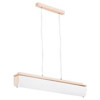 Nowoczesna lampa BAZYL drewno/biały szer. 88cm