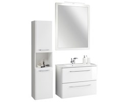 Komplet białych mebli łazienkowych 5 elementów z kolekcji Beta